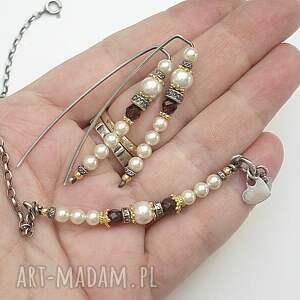 ręcznie robione swarovski perłowy patyczek - bransoletka