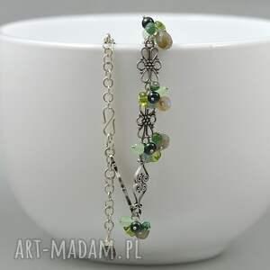 szare bransoletki labradoryt perły i bali