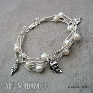 hand-made bransoletki perełki perły i liście - bransoletka lniana