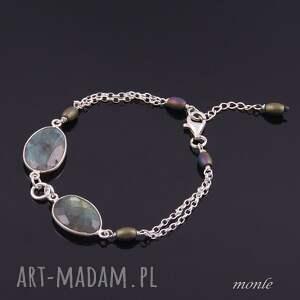 niebieskie bransoletki srebro piękna bransoletka z labradorytu