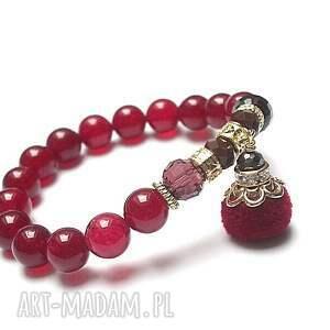 ręczne wykonanie bransoletki jadeity pompon red vol. 2 /27.10.17/