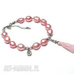 handmade perły naturalne poziomkowa /pearls/ -bransoletka