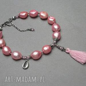 Poziomkowa /pearls/ -bransoletka - srebro