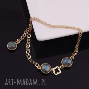 niebieskie bransoletki srebro pozłacana bransoletka z labradorytu