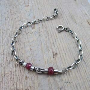 eleganckie oksydowane prosta bransoletka z rubinu