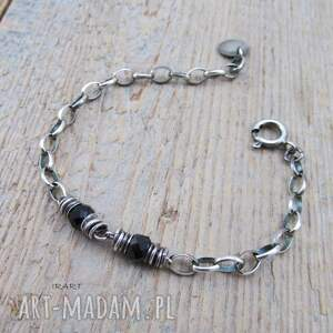 srebro prosta bransoletka ze spinelu
