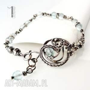 handmade bransoletki akwamaryn rime i - srebrna bransoleta z