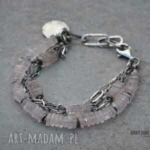 różowe bransoletki srebro różowy kwarc. bransoletka srebrna