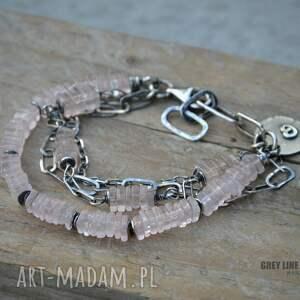 różowy bransoletki kwarc. bransoletka srebrna