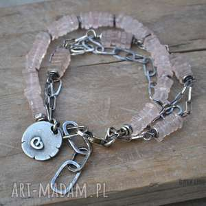handmade bransoletki srebro różowy kwarc. bransoletka srebrna