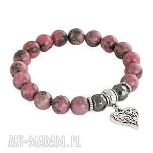 handmade bransoletki rodonit sada 2 - pink & steel