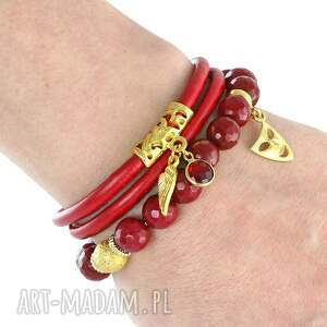niepowtarzalne bransoletki rzemień sada 2 - red & gold