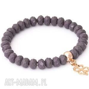 niebanalne bransoletki perła salmon pearl & violet crystal with
