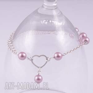 modne bransoletki swarovski serce-srebrna bransoletka z pereł