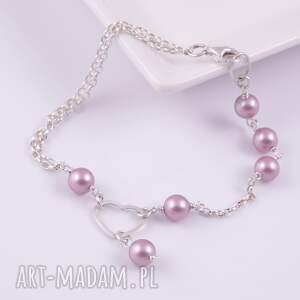 modne bransoletki perły serce-srebrna bransoletka z pereł