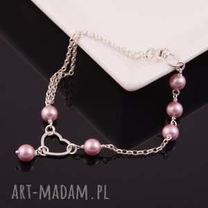 różowe bransoletki swarovski serce-srebrna bransoletka z pereł