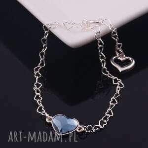 niebieskie bransoletki delikatna serduszko, srebrna