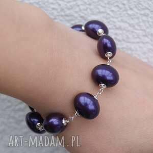 bransoletki bransoletka śliwka w srebrze, fioletowa