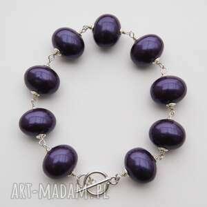 bransoletki perły śliwka w srebrze, fioletowa