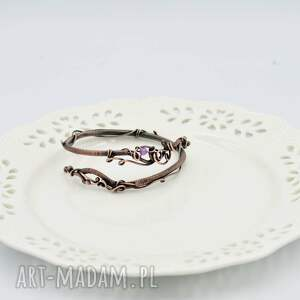 różowe bransoletka z-miedzi spiral - z miedzi