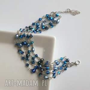 niebieskie bransoletki bransoletka srebrna z błękitnych