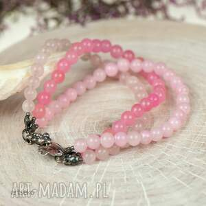 różowe pastelowa bransoletk srebrna bransoletka w pastelowym