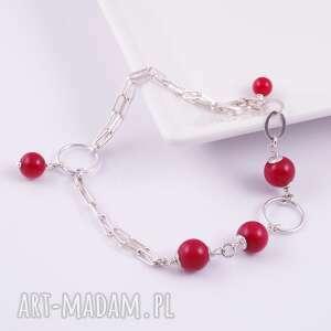 czerwone bransoletki bransoletka srebrna z korala