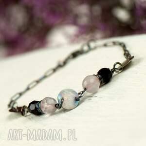 srebrna bransoletka różowe w stylu boho