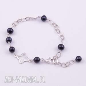 unikatowe bransoletki czarne-perły srebrna bransoletka z czarnych