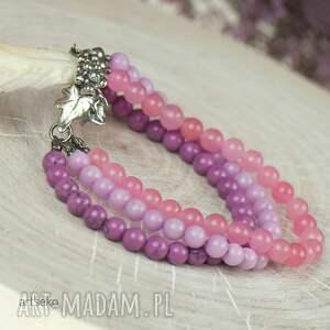 srebrna bransoletka różowe w kolorze bzu