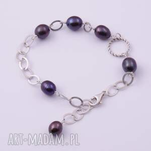 fioletowe bransoletki oryginalna srebrna bransoletka z ciemnymi
