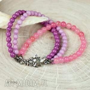 fioletowe pastelowy różowy srebrna bransoletka w kolorze bzu