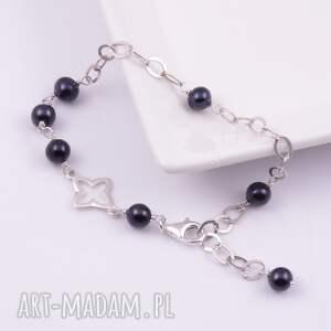 czarne bransoletki perły-rzeczne srebrna bransoletka z czarnych