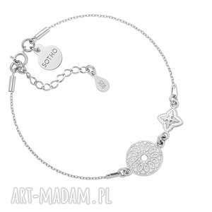 niepowtarzalne srebro srebrna bransoletka z rozetką