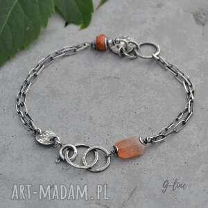 pomarańczowe delikatna srebrna bransoletka z kamieniem