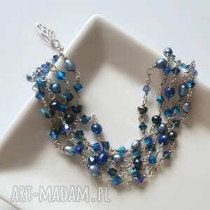 hand-made bransoletki swarovski srebrna bransoletka z błękitnych