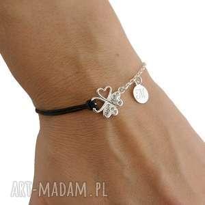 hand-made bransoletki sznurkowa srebrna bransoletka koniczynka i
