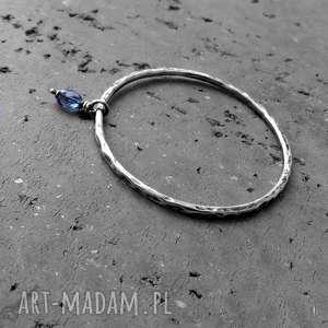 niebieskie okrągła srebro i kwarc granatowy