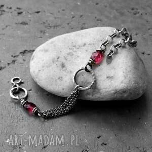 srebrne bransoletka srebrna srebro i kwarc rózowy