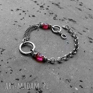 bransoletka z-kamieniami różowe srebro i kwarc rózowy