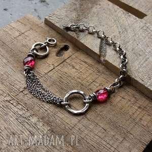 Srebro i kwarc rózowy - bransoletka łańcuszkowa z kamieniami modna