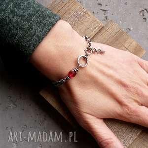 Cocopunk Srebro i kwarc rózowy - bransoletka łańcuszkowa z kamieniami różowy