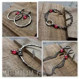 Srebro i kwarc rózowy - bransoletka łańcuszkowa z kamieniami