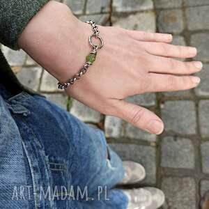 eleganckie bransoletki surowa srebro i peridot - bransoleta