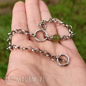 bransoletki gruba srebro i peridot - bransoleta