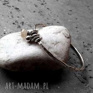 srebrne bransoletki kamień-naturalny srebro, kwarc z rutylem