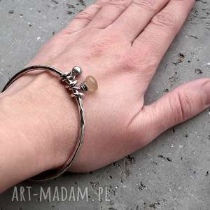 złoty-rutyl bransoletki beżowe srebro, kwarc z rutylem