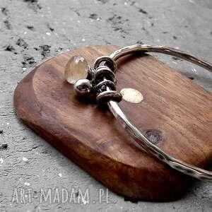 niepowtarzalne bransoletki złoty-rutyl srebro, kwarc z rutylem