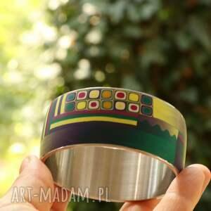 turkusowe bransoletki stalowa bransoleta z polymer clay