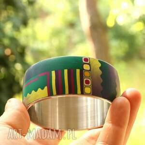 bransoletki stalowa bransoleta z polymer clay